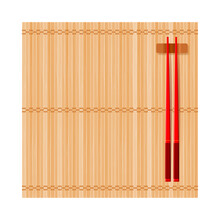 Bamboo Mat And Wooden Chinese Chopsticks On Rest. Top View. Flat Lay Square Composition. Isolated On White Background. Vector Illustration.