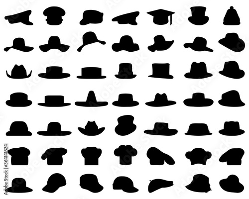 Fototapeta Black silhouettes of various caps and hats on a white background obraz