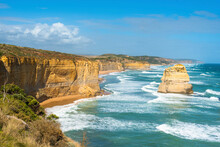 The Twelve Apostles Is A Collection Of Limestone Stacks Off The Shore Of Port Campbell National Park, By The Great Ocean Road In Victoria, Australia.