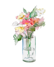 Spring Watercolor Flowers In V...