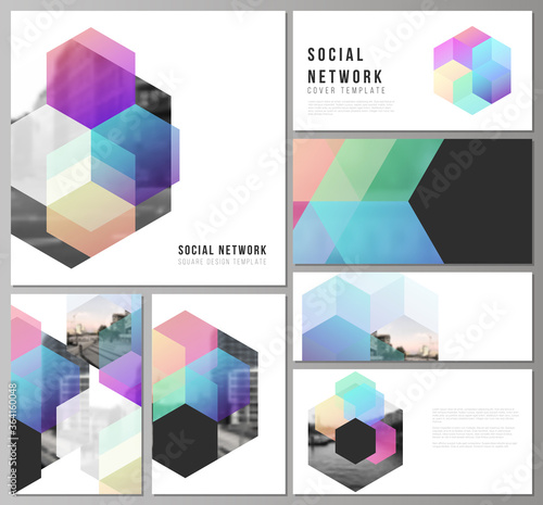 Vector layouts of modern social network mockups in popular formats with colorful Canvas-taulu
