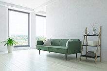 Modern Sofa, Plant And Shelf N...