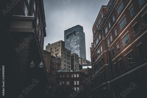 Grey and Moody City Skyscrapers Canvas Print