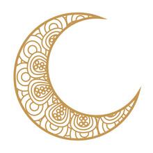 Crescent Moon Golden On White ...