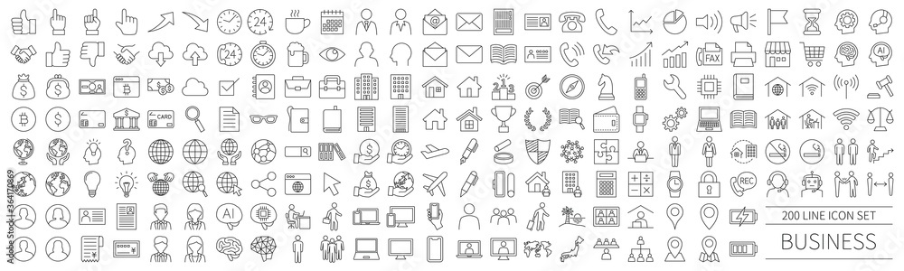Fototapeta 200 line icon set related to business