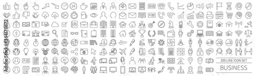 Fotografiet 200 line icon set related to business