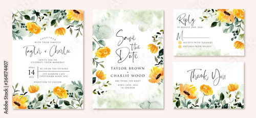 wedding invitation set with yellow green flower garden watercolor Tableau sur Toile