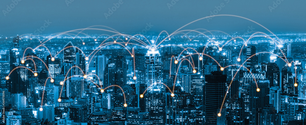 Fototapeta The modern creative communication and internet network connect in smart city . Concept of 5G wireless digital connection and internet of things future.