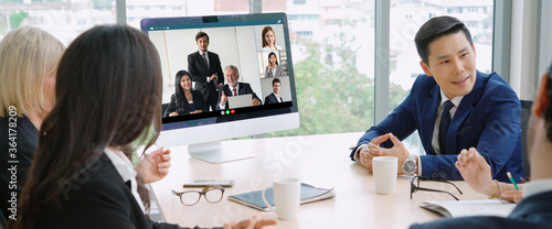 Vászonkép Video call group business people meeting on virtual workplace or remote office