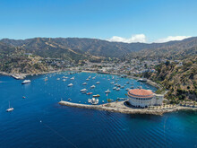 Aerial View Of Avalon Bay In Santa Catalina Island, Tourist Attraction In Southern California, USA