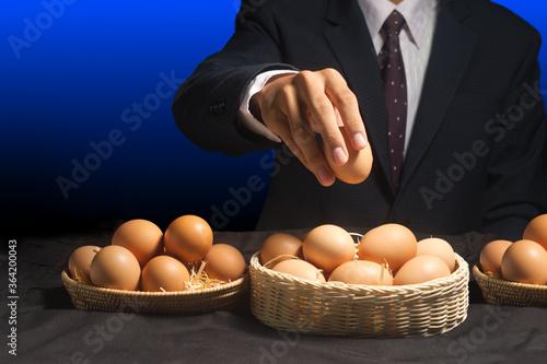 smart businessman allocate egg into many baskets Canvas Print