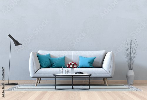 Fotografering Living room interior in modern style, 3d render with sofa and decorations
