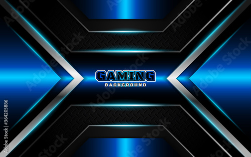 Abstract futuristic black and blue esport gaming background with modern shapes Fototapet