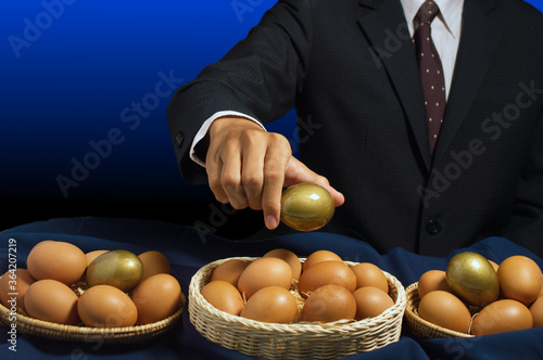 smart businessman allocates golden egg into many baskets Wallpaper Mural