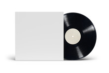 12-inch Vinyl LP Record In Cardboard Cover On White Background.