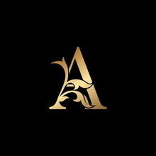 Golden Luxury Letter A Initial...