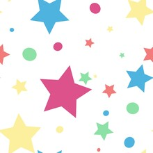 Colorful Cute Stars Seamless P...