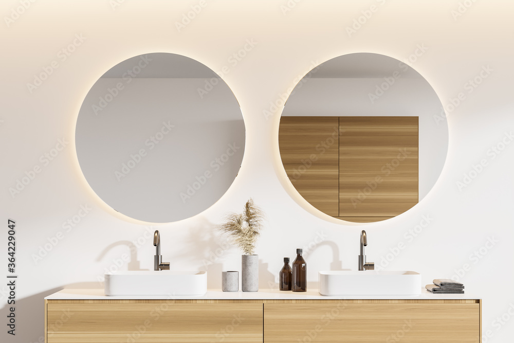 Fototapeta Double sink in white bathroom, close up