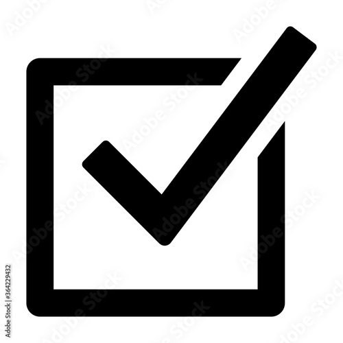 Fotografija Checked checkbox or vote / voting flat vector icon for election apps and website