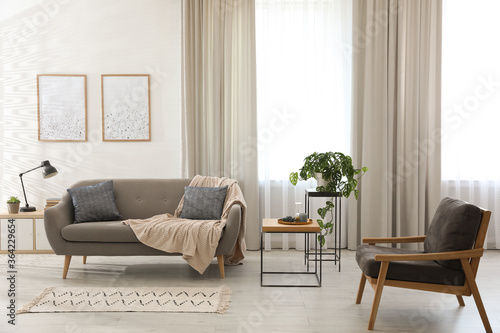 Fototapeta Modern living room interior with comfortable sofa and armchair obraz