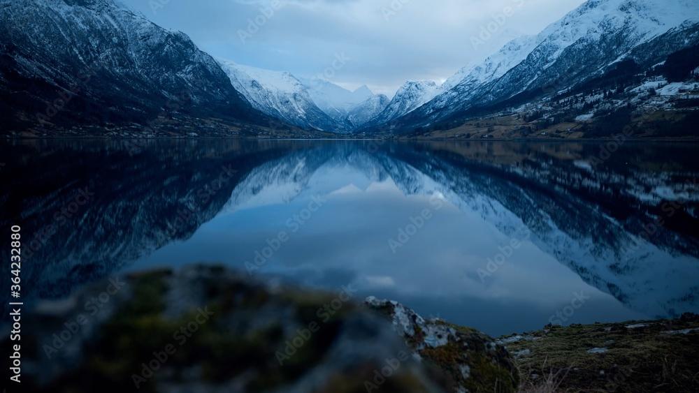 Fototapeta Landscape in the Norwegian Fjords, in Winter