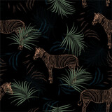 Dark tropical safari with zebra in the jungle seamless pattern in vector EPS10 ,Design for fashion, fabric, web,wallpaper,wrapping and all prints - 364233094