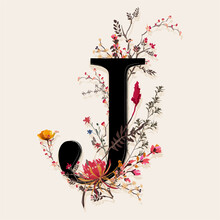 """Alphabet """" J"""" With Beautiful Botanical Floral Vector EPS10, Desig For Fashion,fabric,T-shirt,card ,wedding And All Graphic Type"""