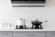Close Up Of Gas Stove In White Modern Kitchen.