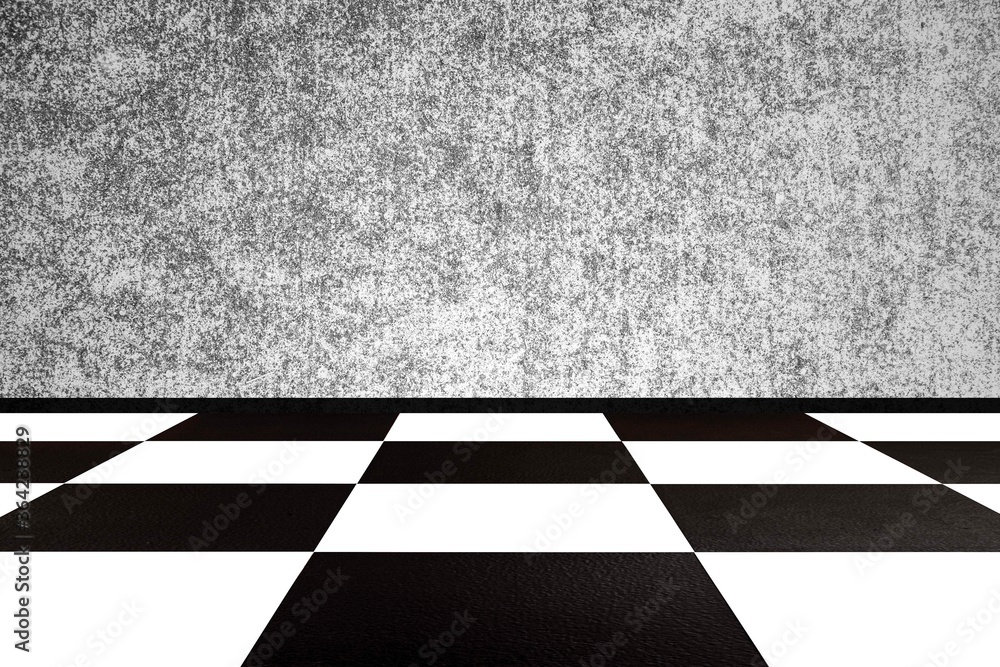 Fototapeta Vintage square black and white floor with cement wall