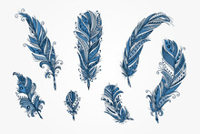 Vector Set Of Ethnic Feather. ...