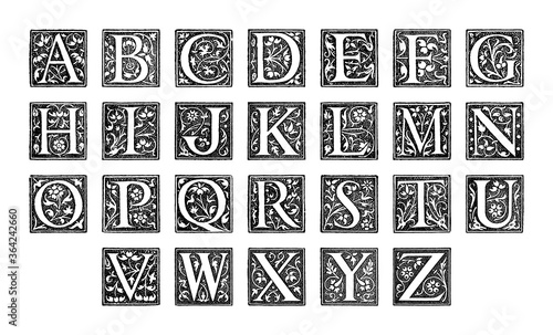 Old alphabet - decorative ornamental capital letters - vintage vector illustrati Canvas