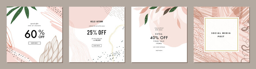 Trendy abstract square art templates with floral and geometric elements. Suitable for social media posts, mobile apps, banners design and web/internet ads. Fashion backgrounds.
