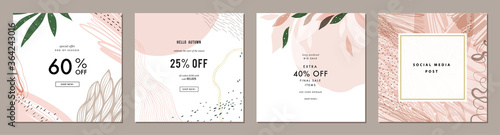 Obraz Trendy abstract square art templates with floral and geometric elements. Suitable for social media posts, mobile apps, banners design and web/internet ads. Fashion backgrounds.  - fototapety do salonu