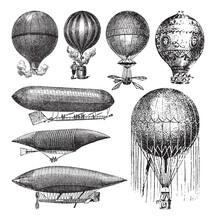 Old Airship, Air Balloon And Z...