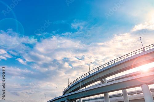 Leinwand Poster 青空と雲と高架橋
