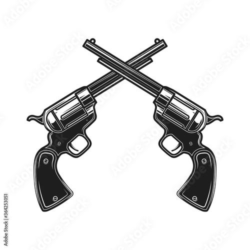 Photo Illustration of crossed revolvers in engraving style