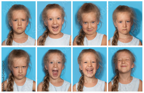 Fotografiet The collage of girl with different emotions