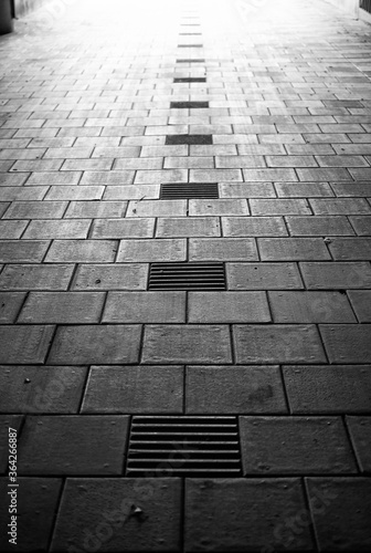 Walkway in harsh light with pattern Canvas Print