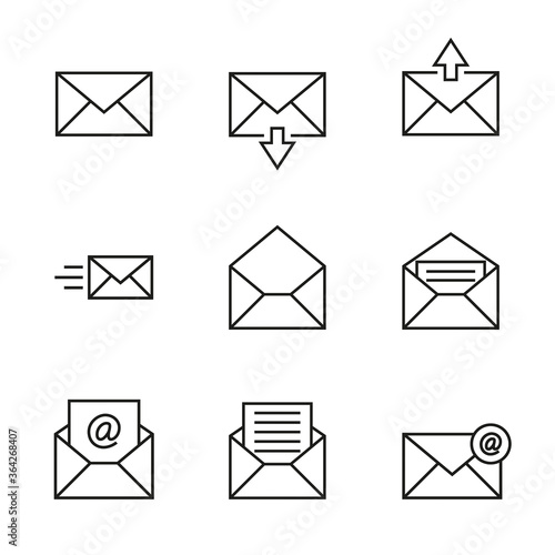 Vászonkép Vector icon set of envelopes, incoming and outgoing letters, mail, email