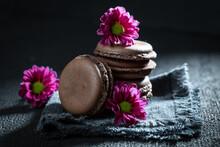 Sweet Chocolate Macaroons As A...