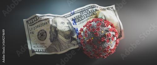 Obraz Coronavirus Covid19 on crumpled one hundred dollar bill. - fototapety do salonu
