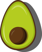 Avocado Split, Half Fruit With A Pit  Isolated On A White Background.
