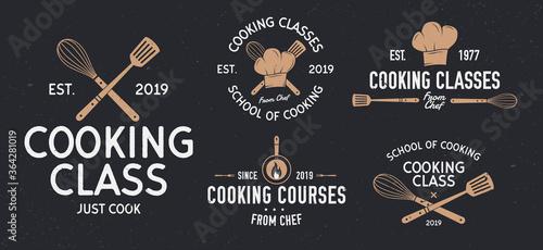 Cooking classes badges Fotobehang