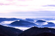 Beautiful sea of clouds at dawn on the top of the mountain.