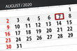 Calendar planner for the month august 2020, deadline day, 7, friday