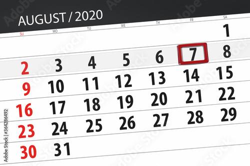 Fototapeta Calendar planner for the month august 2020, deadline day, 7, friday obraz
