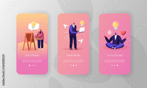 Obraz Inspiration Mobile App Page Onboard Screen Template. Male and Female Characters Search Creative Idea, Meditating, Painting on Easel and Working on Laptop. Concept. Cartoon People Vector Illustration - fototapety do salonu