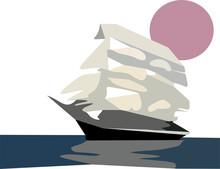 Sailboat And Sun Vector Illustration