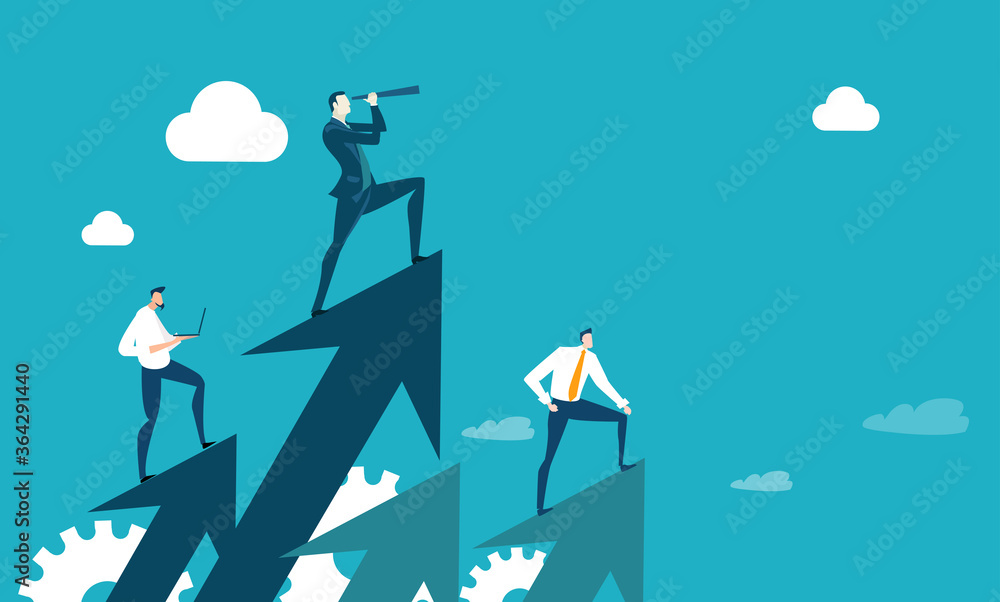Fototapeta Successful businessman and his team standing at arrows and looking with the telescope for new business opportunities. New business, start up Business concept illustration