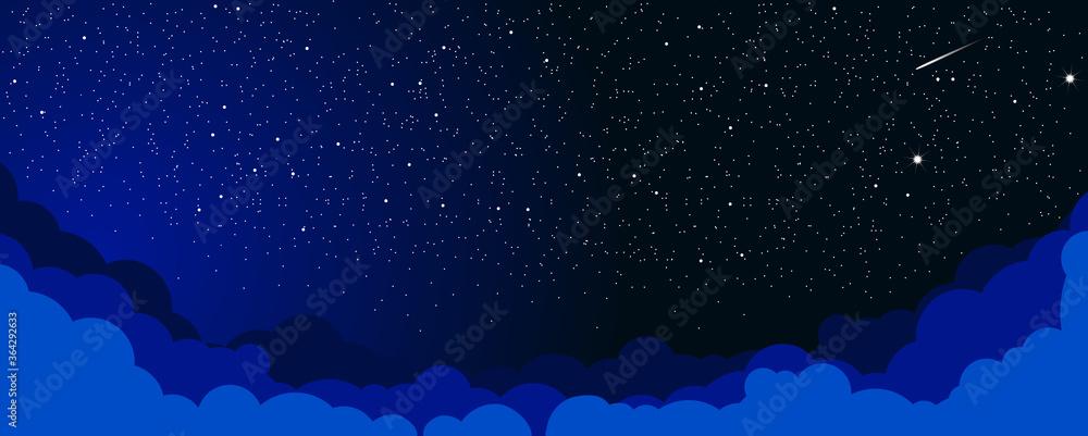 Fototapeta Sky color clouds landscape background design. Starlight Night. Illustration, vector